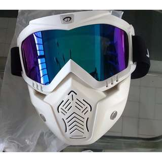 nerf mask war protective tactical mask  white and blue reflective lens, motorcycle face mask