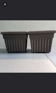 2 square flower pots for $4 + free hanging pot