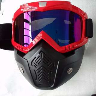 nerf mask  war protective tactical mask  black and blue reflective lens, motorcycle face mask