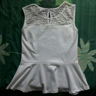 White peplum sleeveless
