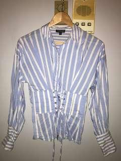 Topshop Pinstripe Corset Shirt