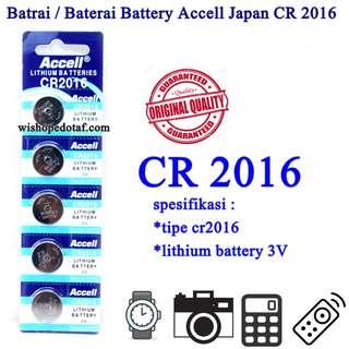 Grosir Batrai / Baterai Battery Accell Japan CR 2016
