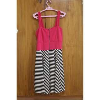 Pink & Stripes Combi Zip Dress
