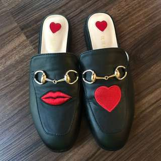 Embroidered Genuine Leather Mules