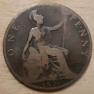 1896 Great Britain Queen Victoria Penny Coin