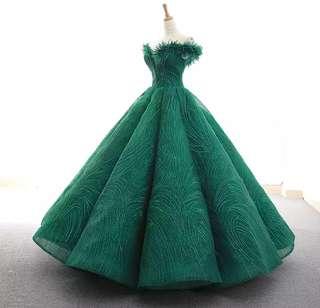 New Dark Green sexy tube top puff Qi Evening Wedding Dress