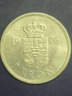 Danmark 1 krone year 1976, XF