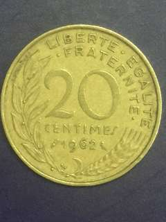 France 20 centimes Year 1962 , VF