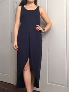 Slouchy Navy High-Low Maxi