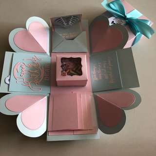 Explosion box with capsule box, 4 waterfall in pastel pink & blue