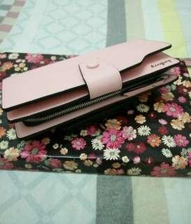 Baellery women multifunction leather zipper wallet (pink)