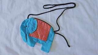 Elephant Blue Fabric Sling Bag