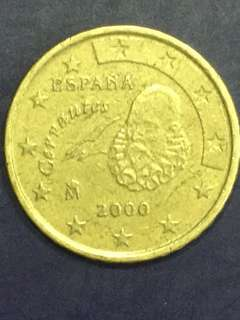 Euro 10 Cents , Spain Millenium Coin , year 2000, Vf