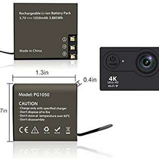 Replacement battery PG1050 Rechargeable Li-ion Spare Battery 1050mAh for Sports Action Camera SJcsm SJ4000 SJ5000 SJ8000 SJ9000 Eken H8 H9 H9R H8Pro Soocoo C30 cameras etc