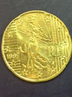 Euro 20 Cents Year 1999, France design , XF
