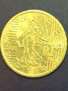 Euro 10 cent Year 2001 , France Design  XF