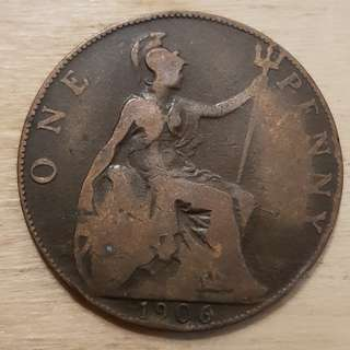 1906 Great Britain King Edward VII Penny Coin