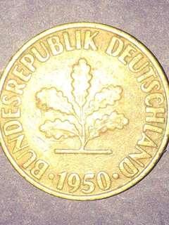 Germany 10 Pfenning Year 1950, VF