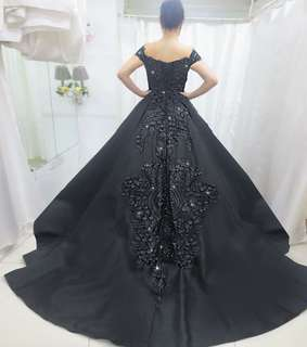 Black ball gown with trail
