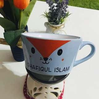 Customized mug with Hand drawn Animal with Name