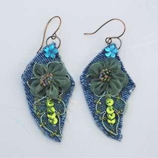 Denim Earrings Handmade Jeans Fabric Flower Lace Sequins Earrings Green Blue
