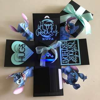 Stitch explosion box with lighthouse , 4 waterfall in black & Tiffany