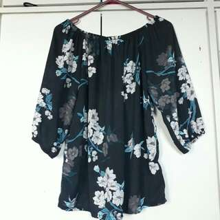 Trendy floral Off shoulder