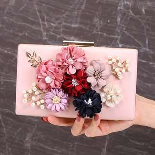 Floral Clutch with Chain