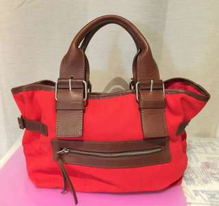 Country Road bold red canvas tote