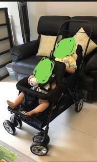 Baby Dudu Elegance double pram tandem stroller