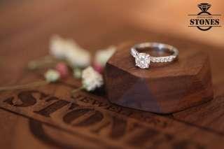 💍尊業珠寶首飾訂製💍GIA鑽石💎 PAVE 訂婚戒指💍 18K 1.00ct E color VS2 3EX NON 八心八箭 碎石約20份 Diamond Ring