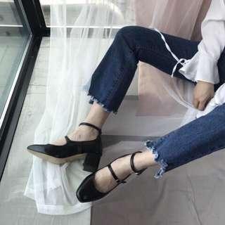 正韓復古低跟瑪莉珍鞋