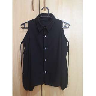 Black Cutout Long Sleeves Top
