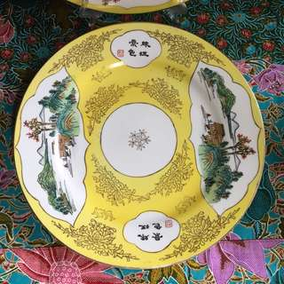 Rare Yellow Ground 10 inch Plate $35 each
