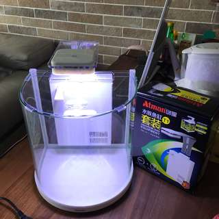 10L aquarium fish glass tank with led light and filter
