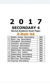2017 Sec 4 AMaths NA Exam Papers / Normal Academic / NA / A-Math / additional Maths / Mathematics/ Amath / Exam Paper / O level / Prelim Paper / Top school paper / Past Year Papers