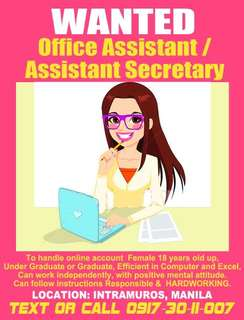 Wanted Office Assistant & Tindera