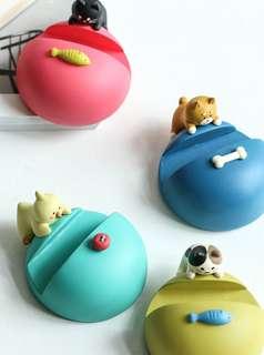日本品牌-DECOLE手機架座-三色貓/黑貓/柴犬/小鸚鵡-預購/禮物