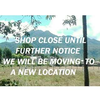 SHOP CLOSE UNTIL FURTHER NOTICE - WE ARE MOVING TO A NEW LOCATION