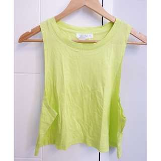 F21 NEON GREEN crop top