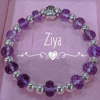 紫晶銀飾手珠