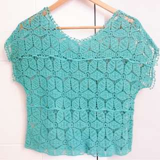 TEAL netted top