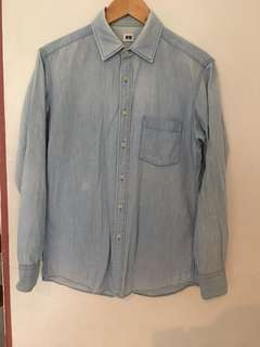 Uniqlo light denim buttoned-down polo with front pocket