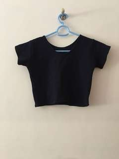 Dark Blue Crop Top with Texture
