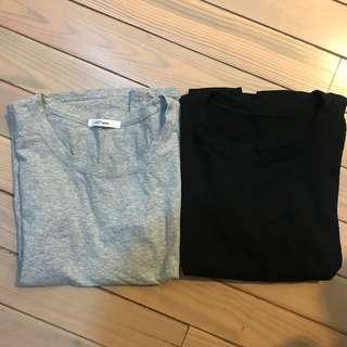 🚚 兩件一起 黑色灰色短袖T恤上衣
