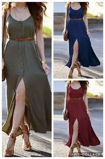 Plain button up Maxi Dress