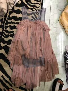 """REPRICED!! """"Styled by M"""" high low mesh Ruffled top"""