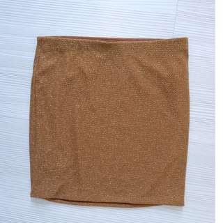 F21 GOLD bandage skirt