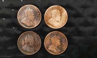 Straits Settlements King Edward VII 1c coins