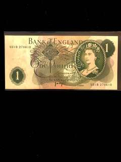 1970-1979 England One Pounds Sterling, Bank of England Banknote. Uncirculated AU/Unc Excellent Mint Condition. Rare.